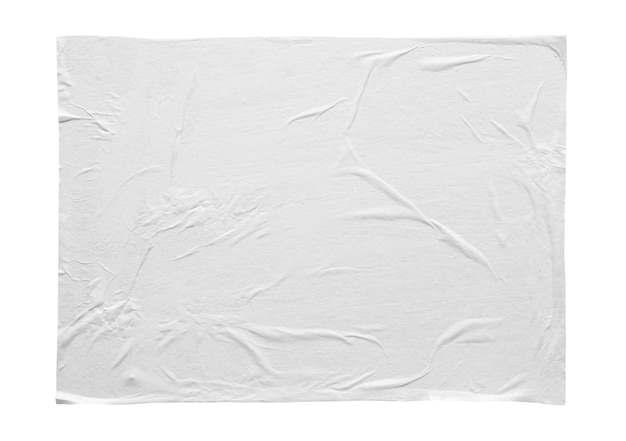 Adesivo amassado e amassado isolado no fundo branco