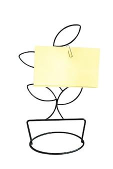 Adesivo com notas de papel amarelo preso com um clipe de papel a um suporte de metal em forma de árvore