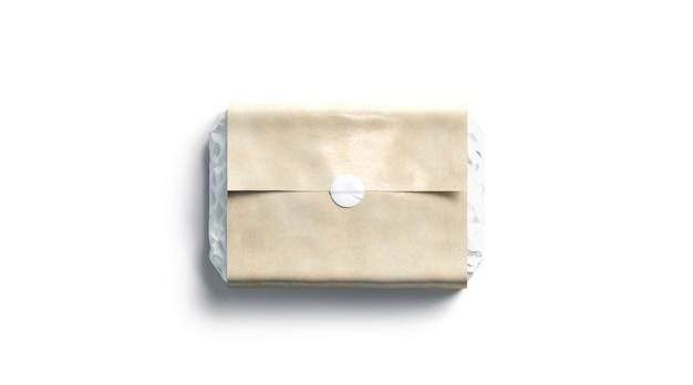 Adesivo redondo adesivo branco em branco em papel de embrulho artesanal, renderização em 3d. entrega de kraft vazio dos correios, vista superior. boxe de luxo claro com modelo de etiqueta de cola.