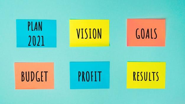 Adesivos coloridos com as palavras plano visão 2021 metas, orçamento, lucro e resultados