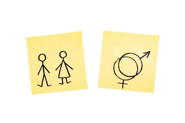 Adesivos de gênero masculino e feminino, isolados no fundo branco.