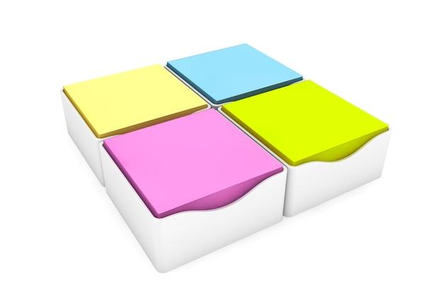 Adesivos de notas adesivas multicoloridas com capas de suporte em um fundo branco