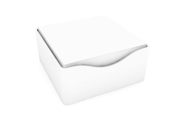 Adesivos em branco de notas adesivas com capas de suporte em um fundo branco