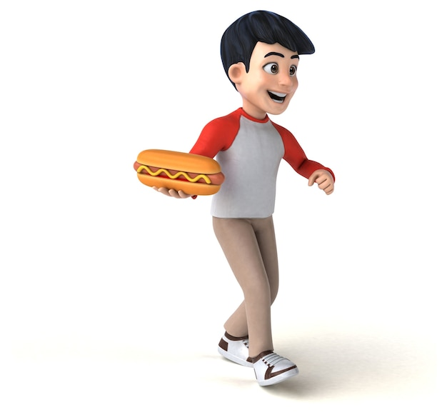 Adolescente asiático 3d engraçado no estilo mangá