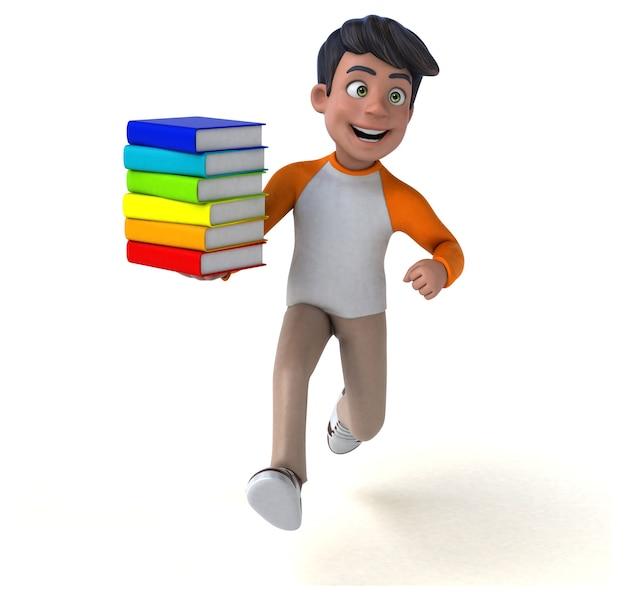 Adolescente asiático de desenho animado em 3d com livros coloridos