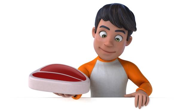 Adolescente asiático de desenho animado em 3d