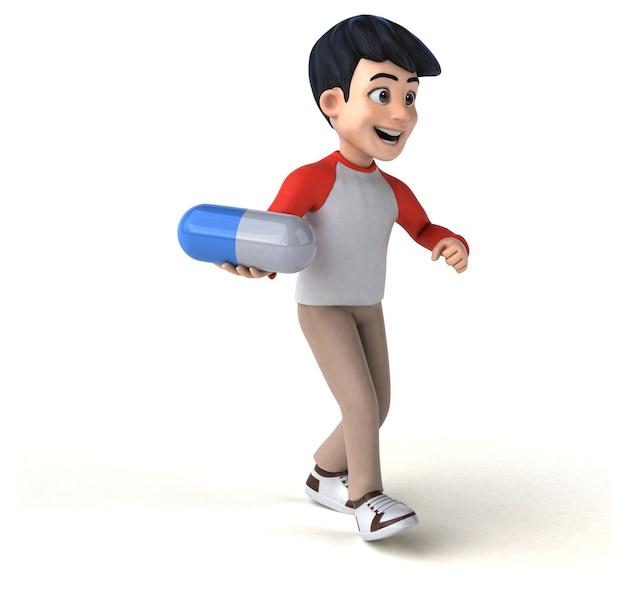 Adolescente asiático divertido em 3d com estilo mangá