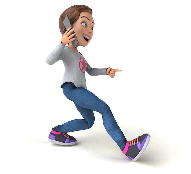 Adolescente de desenho animado em 3d com um telefone