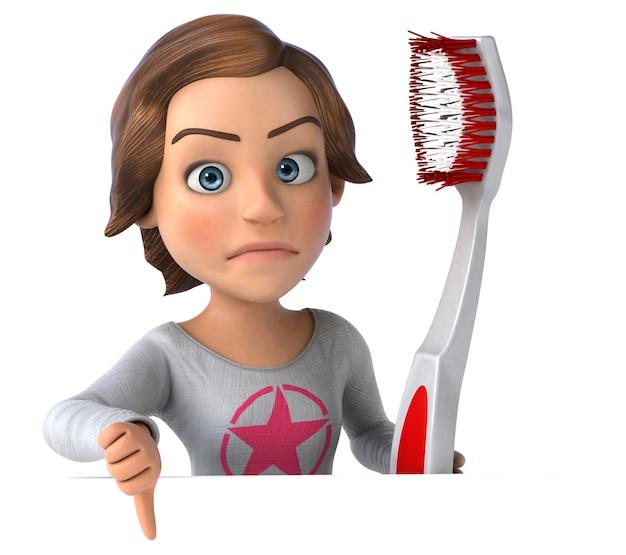 Adolescente de desenho animado em 3d com uma escova de dentes