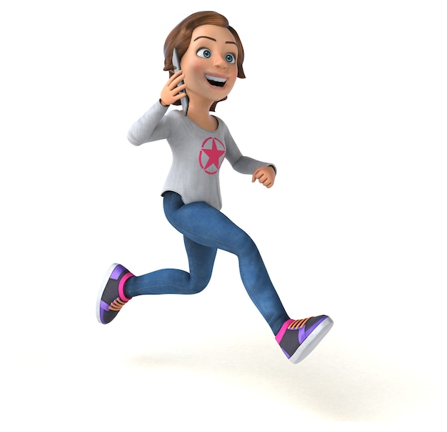 Adolescente divertido de desenho animado em 3d com um telefone