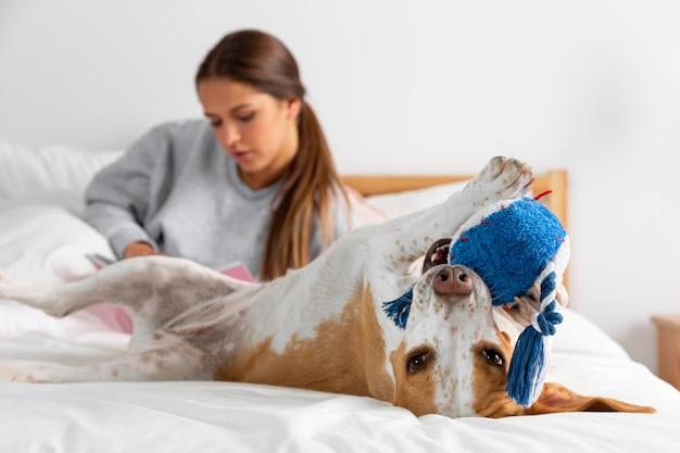Adolescente em tiro médio com cachorro na cama
