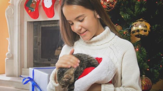 Adolescente fofa acariciando gatinho cinza sob a árvore de natal