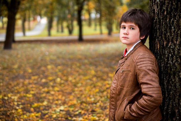 Adolescente menino na floresta de outono