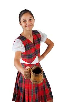 Adolescente, vestido, com, xadrez vermelho, roupa, e, assalte cerveja