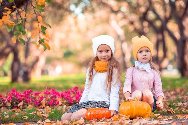 Adoráveis meninas com abóbora ao ar livre em um dia quente de outono.