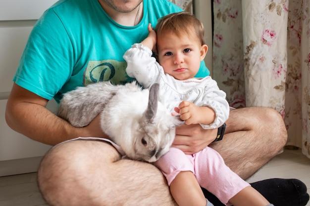 Adorável bebê senta-se nos braços do pai e acaricia um coelho decorativo de animais domésticos em uma família com