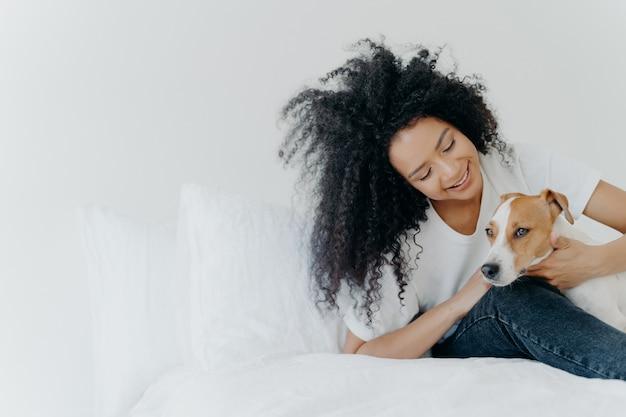 Adorável garota afro-americana descansa na cama depois de acordar com o cachorro, aproveita o tempo com o animal de estimação, senta-se na cama confortável contra a parede branca