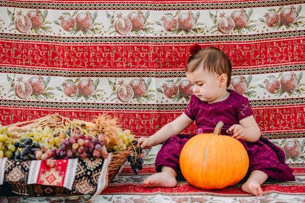 Adorável menina armênia segurando uma abóbora e colhendo uvas em uma cesta de palha