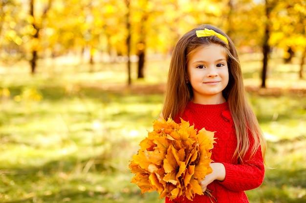 Adorável menina brincando com folhas de outono