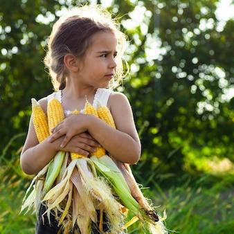 Adorável menina brincando em um campo de milho em um lindo dia de outono. criança bonita segurando uma espiga de milho. colher com crianças. atividades de outono para crianças.