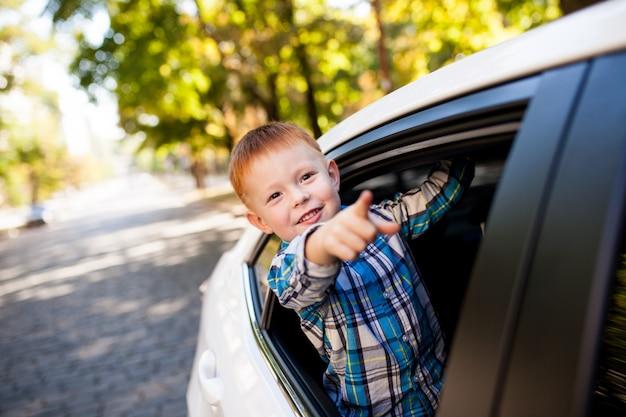 Adorável menino no carro