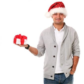 Adulto casual com chapéu de natal