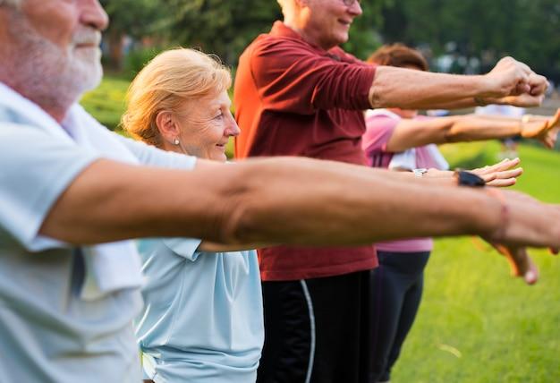 Adultos idosos fazendo sua rotina diária de exercícios