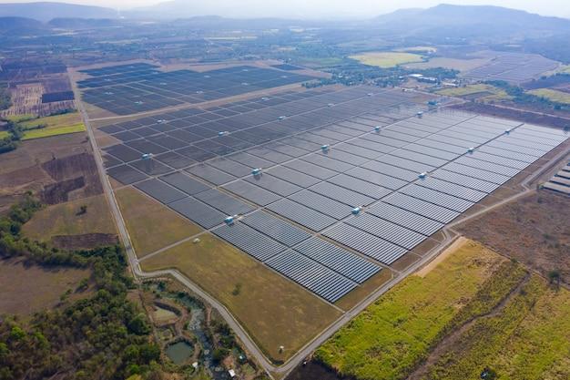 Aérea, sobre, vista, célula solar, área, fazenda, fábrica, em, tailandia