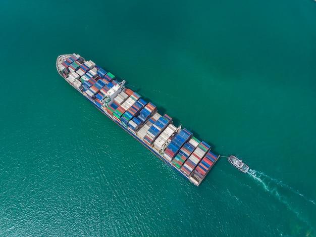 Aérea, vista superior, cargueiro, recipiente, carga, importação, exportação, ligado, a, mar, de, zangão