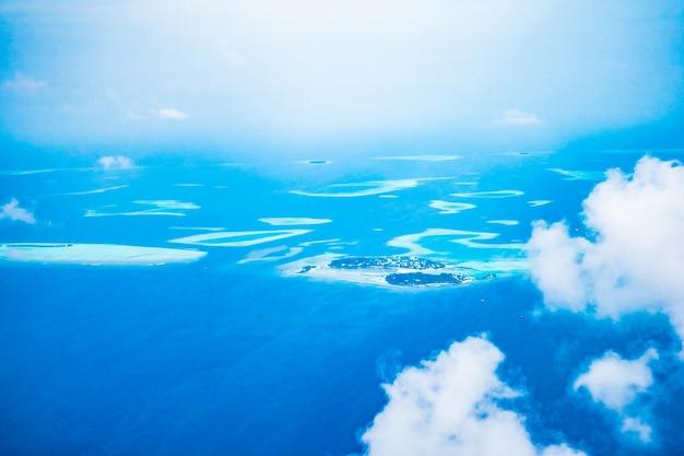 Aéreo, vista, maldivas, ilha