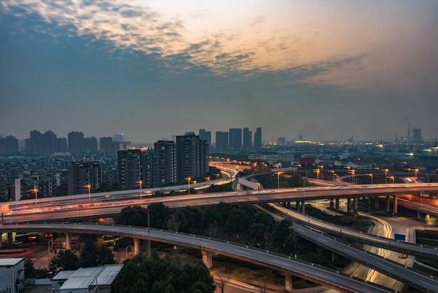 Aéreo, vista, suzhou, viaduto