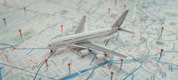 Aeronave e marcação de localização com um alfinete nas rotas no mapa mundial. fundo de conceito do tema aventura, descoberta, comunicação, logística, transporte e viagens. renderização e ilustração 3d.