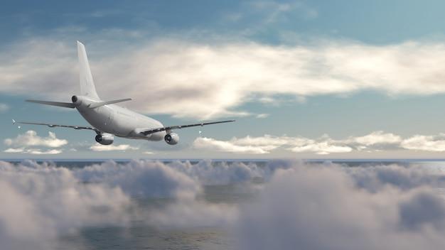 Aeronaves sobre o céu azul de nuvem