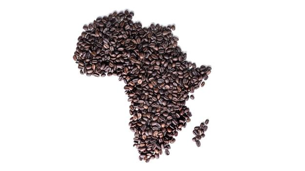 África continental feita de grãos de café isolados.