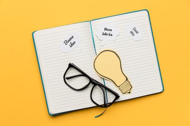 Agenda com idéias na mesa