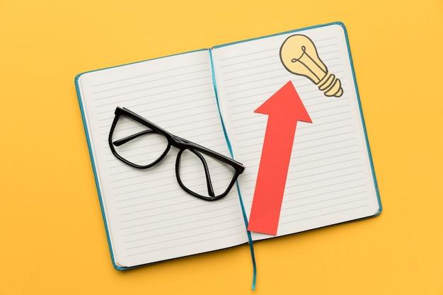 Agenda da vista superior com idéias
