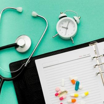 Agenda e pílulas de close-up