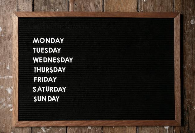 Agenda no quadro negro Foto Premium