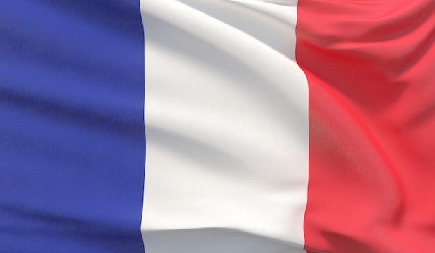Agitando a bandeira nacional da frança. renderização 3d em close-up altamente detalhada.