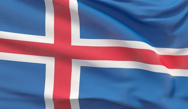 Agitando a bandeira nacional da islândia. renderização 3d em close-up altamente detalhada.