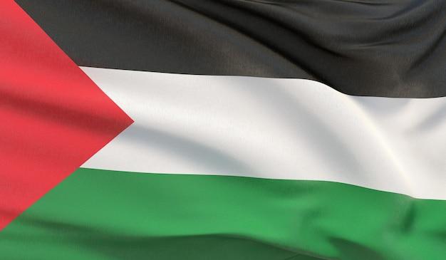 Agitando a bandeira nacional da palestina. renderização 3d em close-up altamente detalhada.