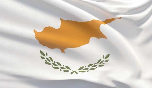 Agitando a bandeira nacional de chipre. renderização 3d em close-up altamente detalhada.