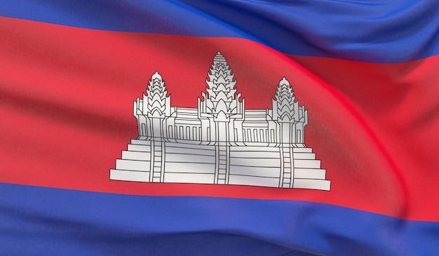 Agitando a bandeira nacional do camboja. renderização 3d em close-up altamente detalhada.