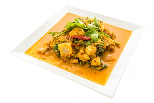 Agite caranguejo frito com curry