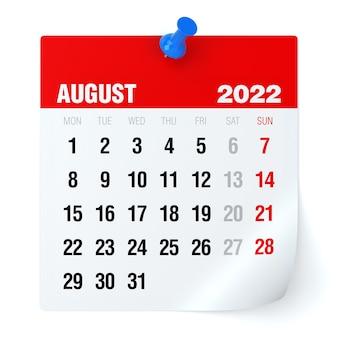 Agosto de 2022 - calendário. isolado no fundo branco. ilustração 3d