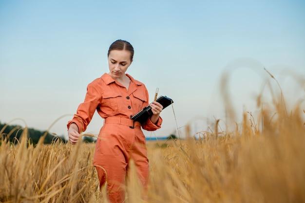 Agricultor agrônomo com computador tablet digital no campo de trigo usando aplicativos e internet. agricultura inteligente usando tecnologias modernas na agricultura.