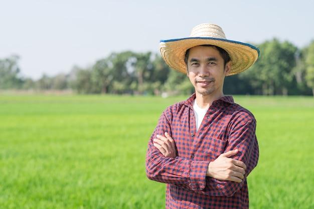 Agricultor asiático de braços cruzados e sorriso em uma fazenda de arroz verde