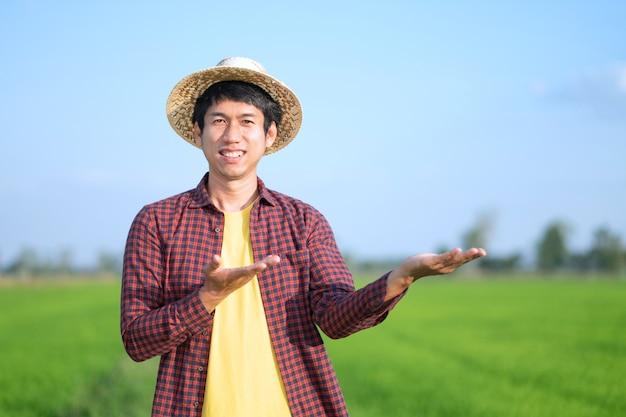 Agricultor asiático em pé e levantar a mão na fazenda de arroz