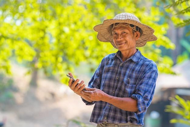 Agricultor asiático no campo com smartphone
