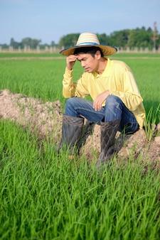 Agricultor asiático usa camisa amarela sentado com cara de preocupação na fazenda verde